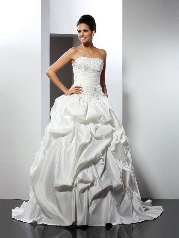 Ball Gown Strapless Satin Sleeveless Cathedral Train Wedding Dresses