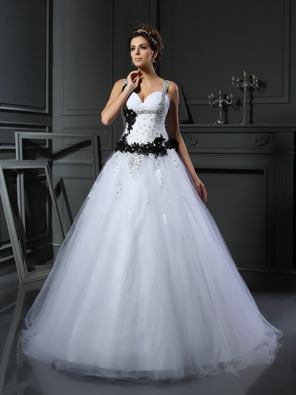Ball Gown Straps Tulle Sleeveless Chapel Train Wedding Dresses