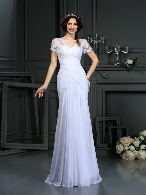 Sheath/Column V-neck Chiffon Short Sleeves Court Train Wedding Dresses