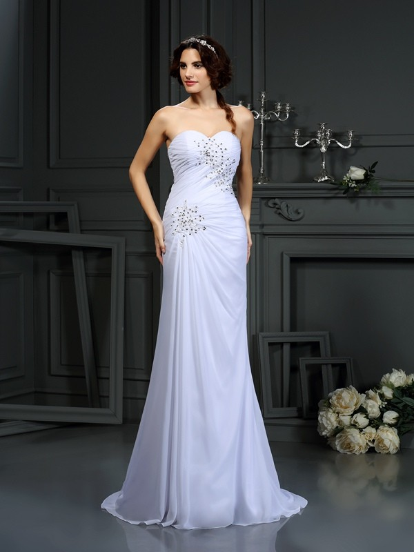 Sheath/Column Sweetheart Chiffon Sleeveless Sweep/Brush Train Wedding Dresses
