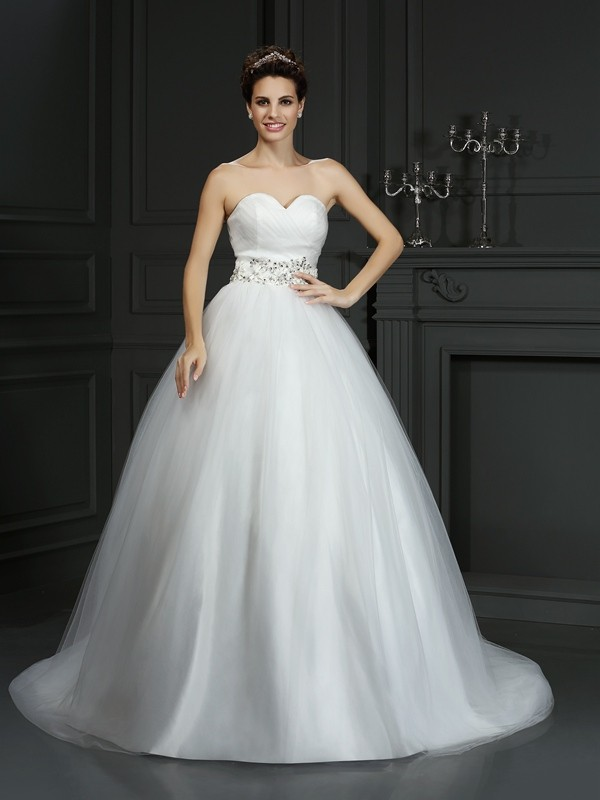 Ball Gown Sweetheart Net Sleeveless Court Train Wedding Dresses