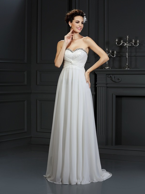A-Line/Princess Sweetheart Chiffon Sleeveless Chapel Train Wedding Dresses