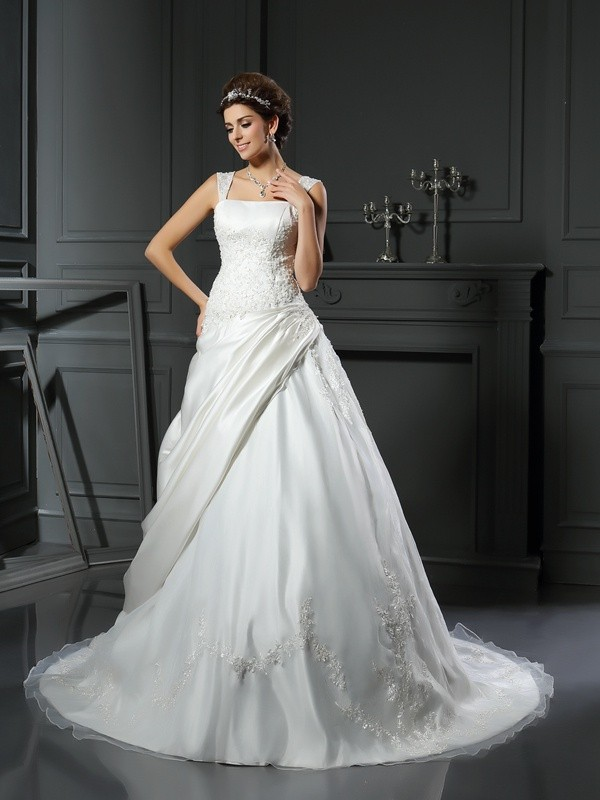 Ball Gown Straps Satin Sleeveless Chapel Train Wedding Dresses