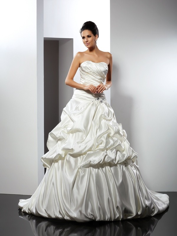 Ball Gown Sweetheart Satin Sleeveless Cathedral Train Wedding Dresses