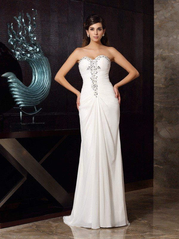 Trumpet/Mermaid Sweetheart Chiffon Sleeveless Sweep/Brush Train Dresses