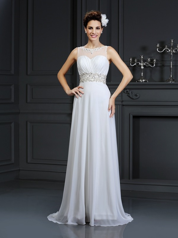 A-Line/Princess Bateau Chiffon Sleeveless Chapel Train Wedding Dresses