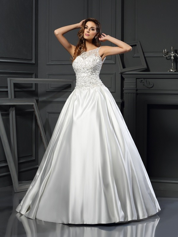 Ball Gown Scoop Satin Sleeveless Chapel Train Wedding Dresses
