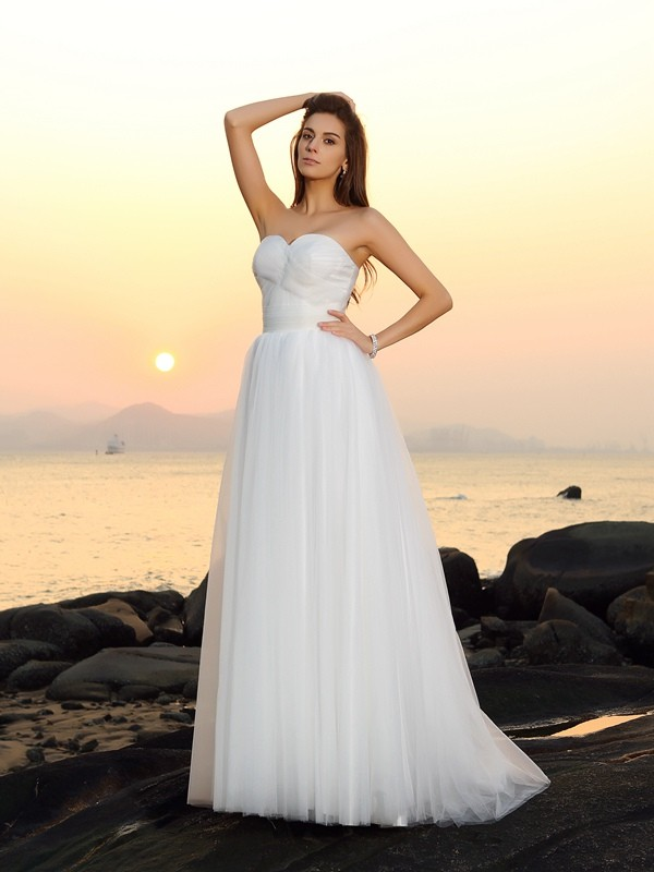 A-Line/Princess Sweetheart Net Sleeveless Sweep/Brush Train Wedding Dresses