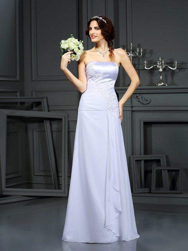 Sheath/Column Strapless Chiffon Sleeveless Sweep/Brush Train Wedding Dresses