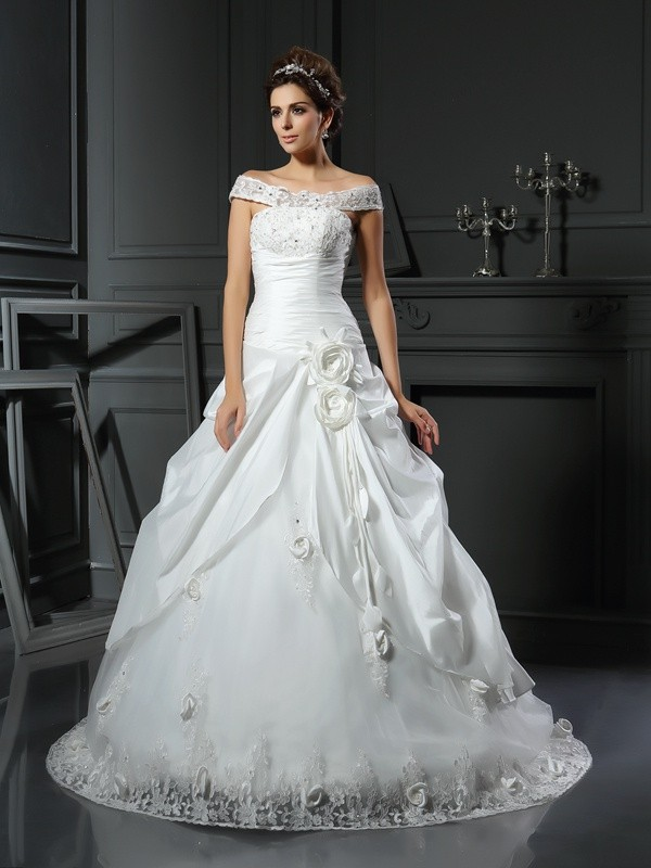 Ball Gown Off-the-Shoulder Satin Sleeveless Chapel Train Wedding Dresses