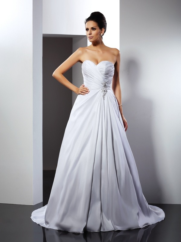 A-Line/Princess Sweetheart Taffeta Sleeveless Court Train Wedding Dresses