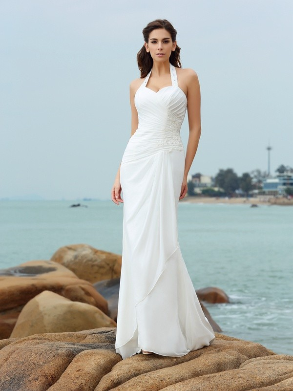 Sheath/Column Halter Chiffon Sleeveless Court Train Wedding Dresses