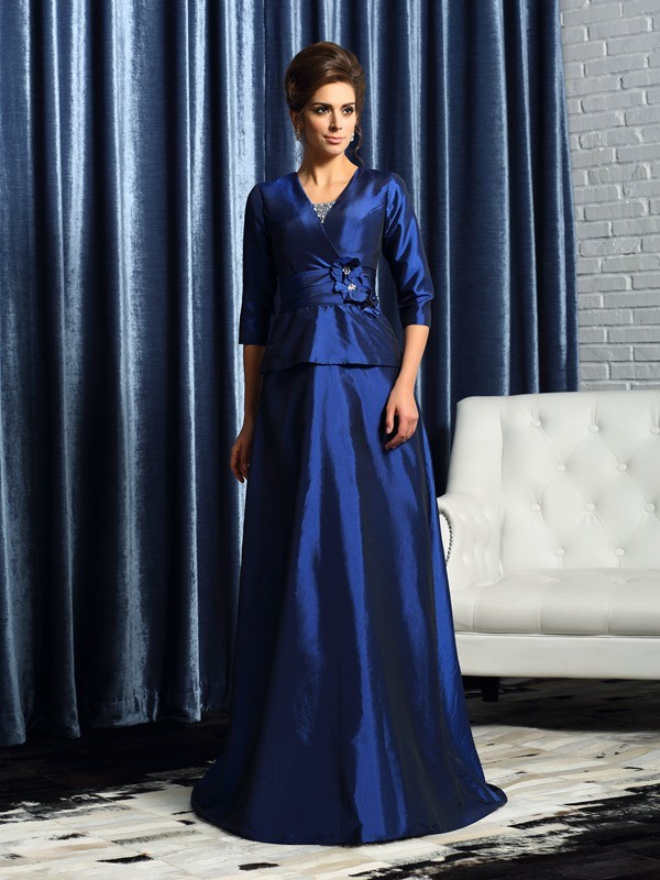 A-Line/Princess V-neck Taffeta 1/2 Sleeves Floor-Length Mother of the Bride Dresses