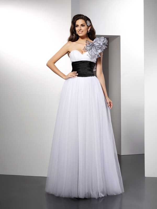 A-Line/Princess One-Shoulder Net Sleeveless Floor-Length Dresses