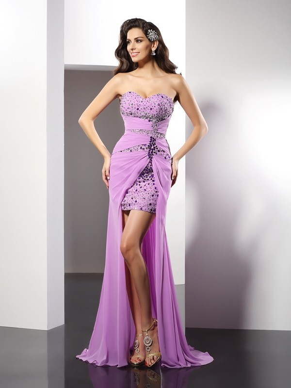 Sheath/Column Sweetheart Silk like Satin Sleeveless Floor-Length Dresses