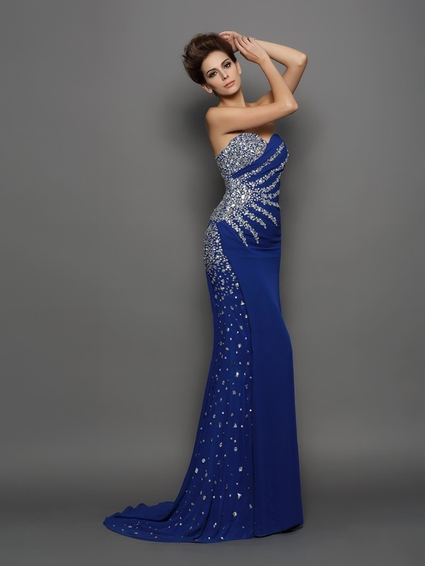 Trumpet/Mermaid Sweetheart Chiffon Sleeveless Court Train Evening Dresses
