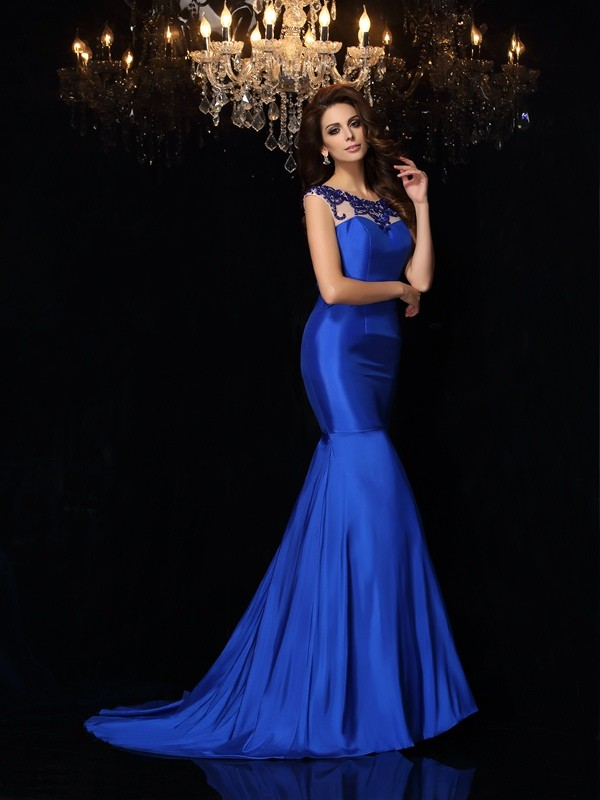 Trumpet/Mermaid Bateau Taffeta Sleeveless Court Train Dresses