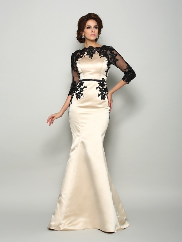 Trumpet/Mermaid Bateau Satin 1/2 Sleeves Court Train Mother of the Bride Dresses