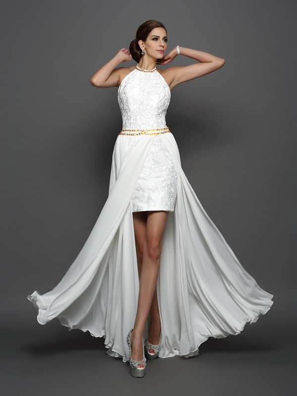 A-Line/Princess High Neck Chiffon Sleeveless Chapel Train Wedding Dresses