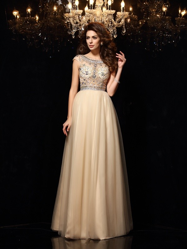 A-Line/Princess Scoop Net Sleeveless Floor-Length Dresses