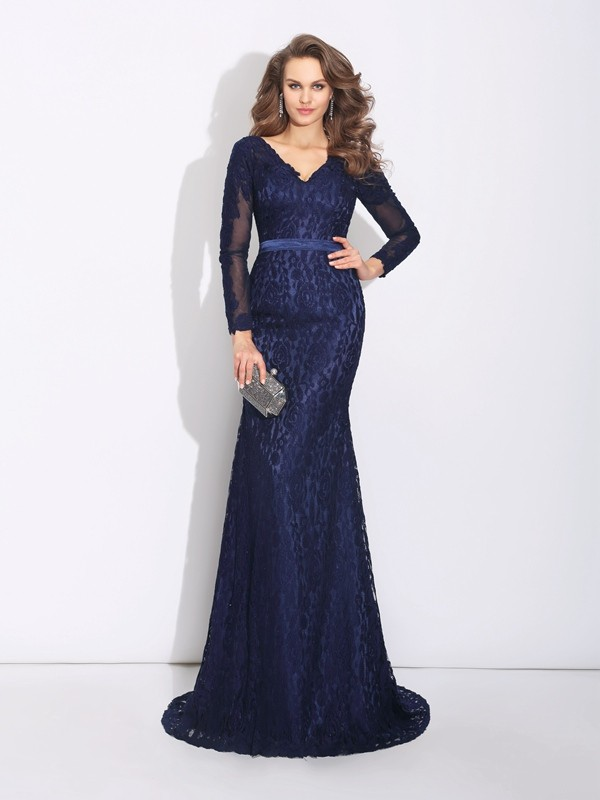 Sheath/Column V-neck Lace Long Sleeves Sweep/Brush Train Evening Dresses