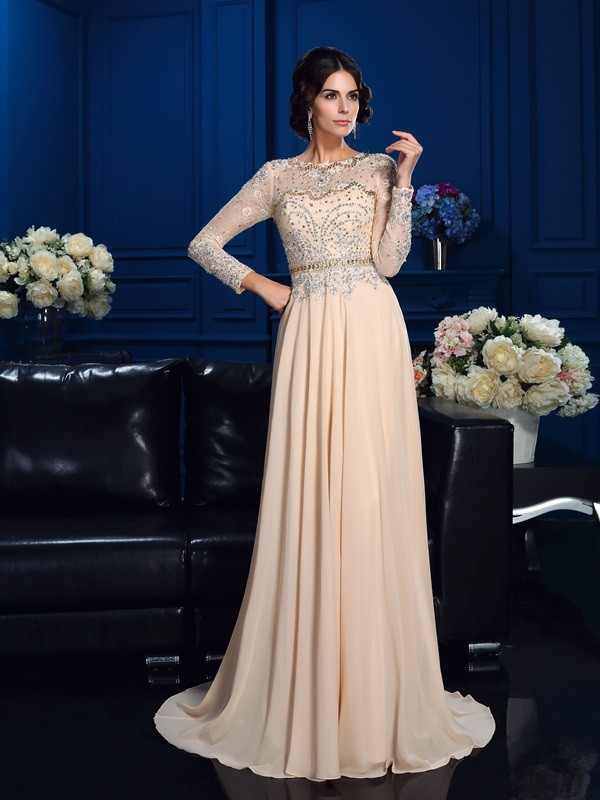 a5523df3515 A-Line Princess Scoop Chiffon Long Sleeves Sweep Brush Train Mother of the
