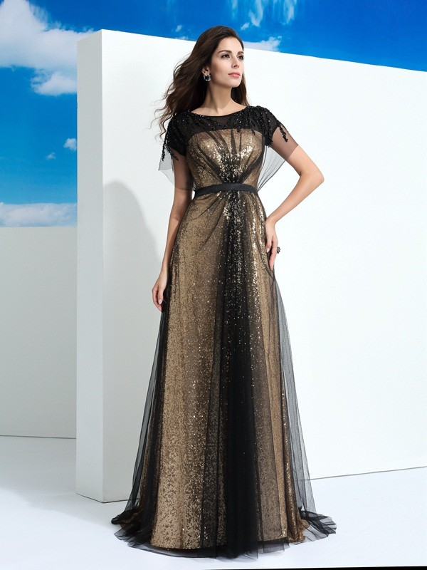 A-Line/Princess Sheer Neck Net Short Sleeves Floor-Length Evening Dresses
