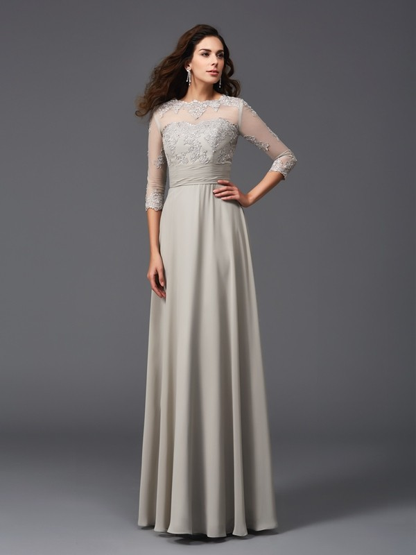 A-Line/Princess Scoop Chiffon 3/4 Sleeves Floor-Length Evening Dresses
