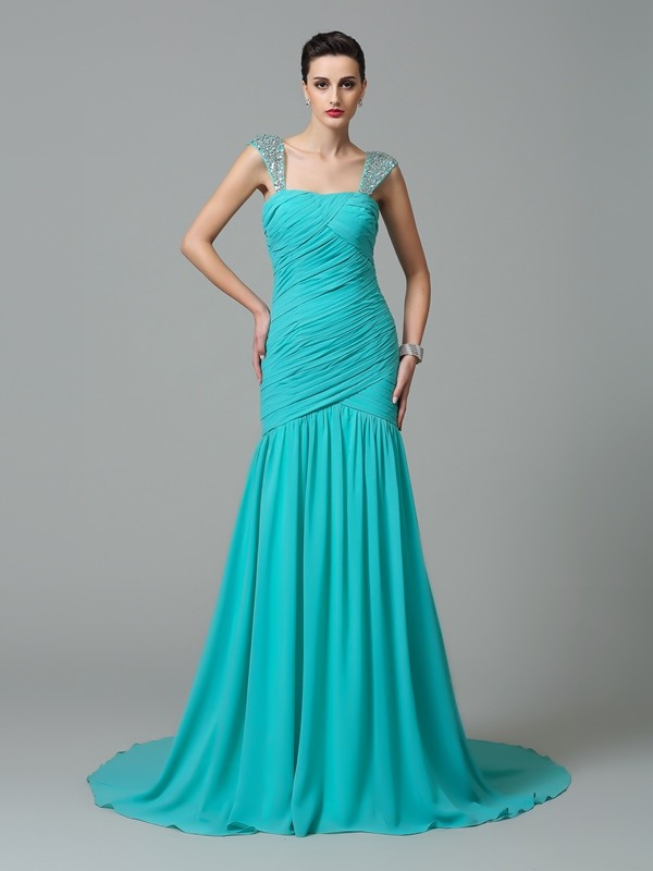 A-Line/Princess Straps Chiffon Sleeveless Court Train Evening Dresses