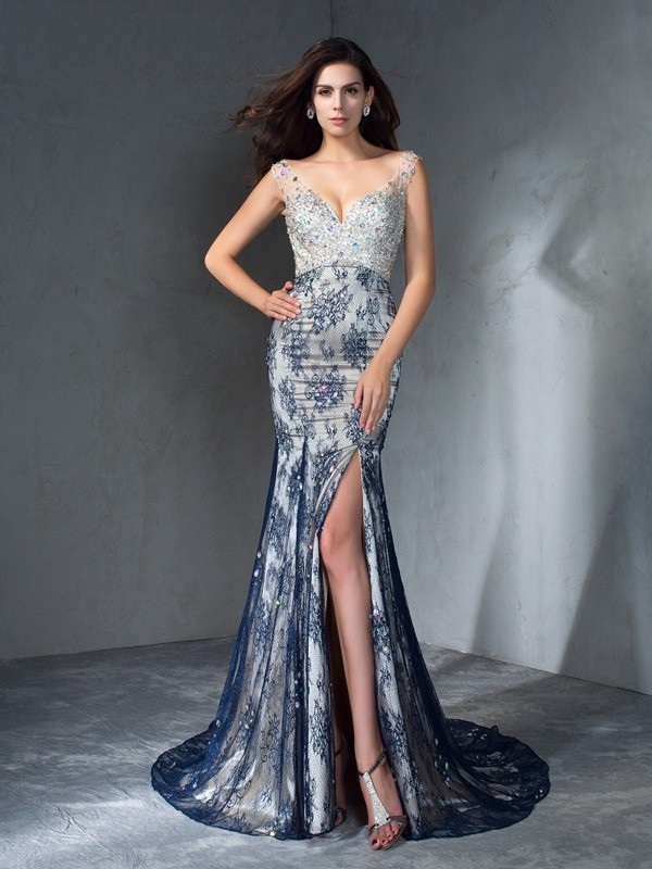 Trumpet/Mermaid V-neck Lace Sleeveless Sweep/Brush Train Prom Dresses