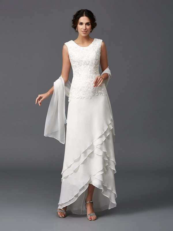 A-Line/Princess Scoop Chiffon Sleeveless Ankle-Length Mother of the Bride Dresses