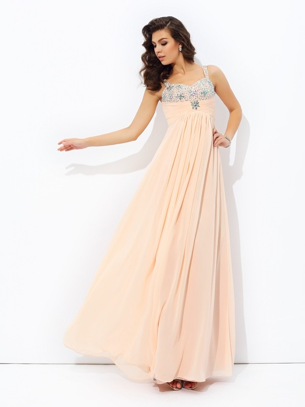 A-line/Princess Spaghetti Strap Chiffon Sleeveless Floor-Length Prom Dresses