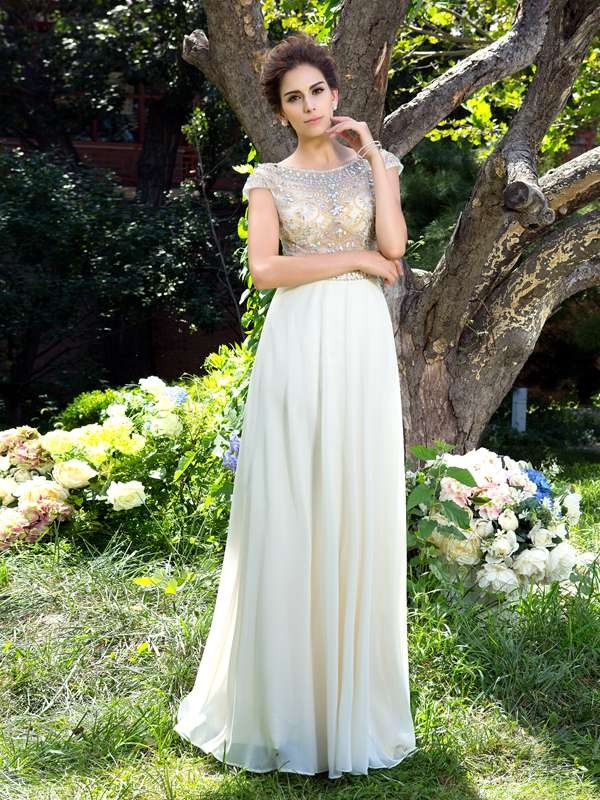 A-Line/Princess Sheer Neck Chiffon Short Sleeves Sweep/Brush Train Prom Dresses