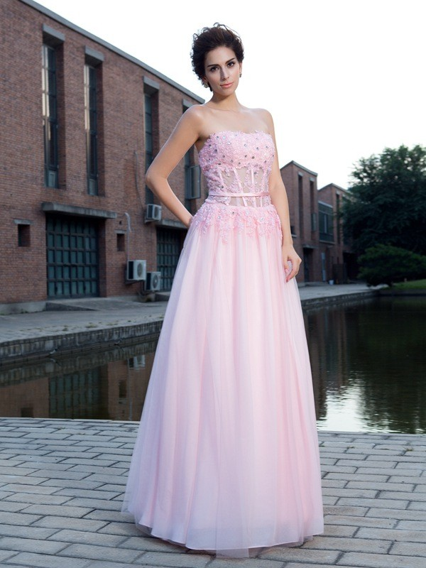 A-Line/Princess Straps Net Sleeveless Floor-Length Prom Dresses