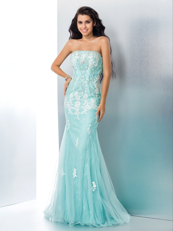 Trumpet/Mermaid Strapless Lace Sleeveless Sweep/Brush Train Prom Dresses