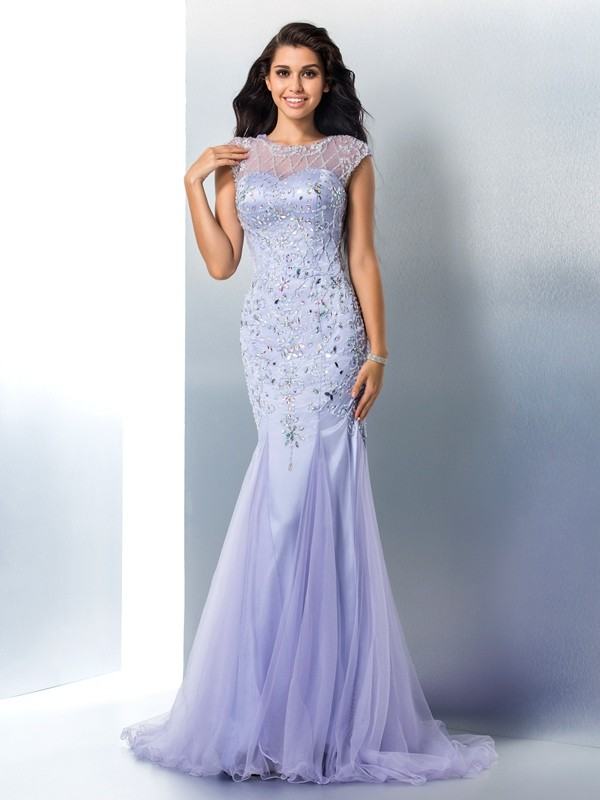 Trumpet/Mermaid Sheer Neck Satin Sleeveless Sweep/Brush Train Prom Dresses
