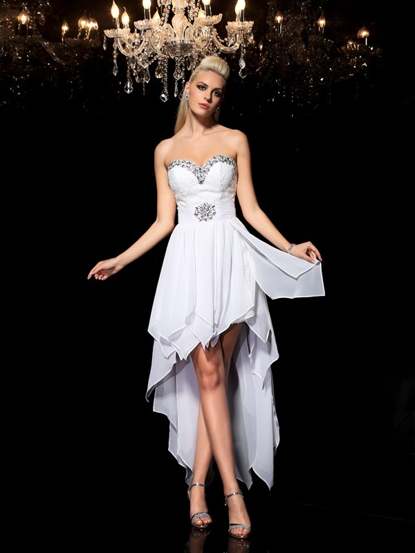A-Line/Princess Sweetheart Chiffon Sleeveless Asymmetrical Cocktail Dresses