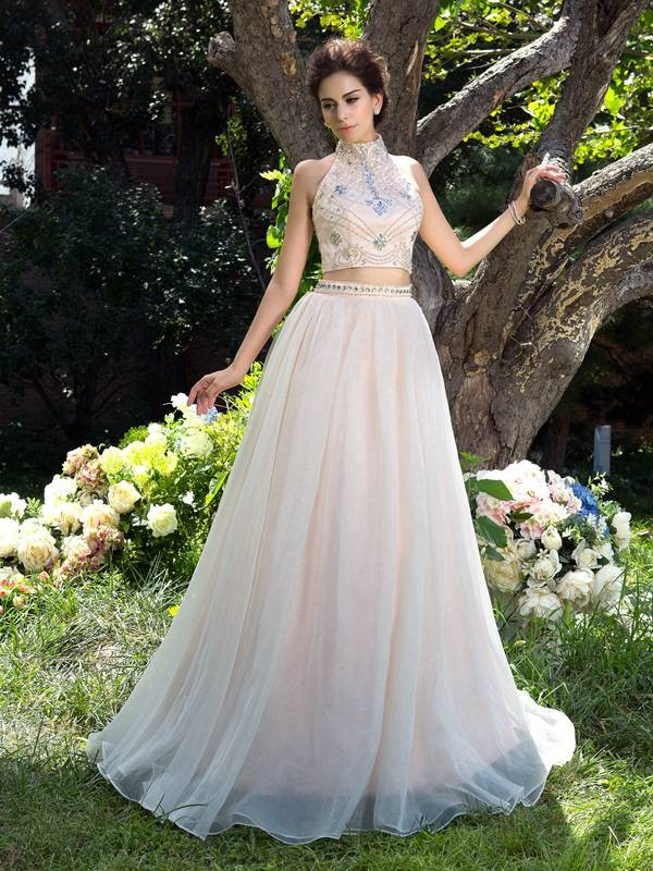 A-Line/Princess High Neck Net Sleeveless Sweep/Brush Train Two Piece Dresses