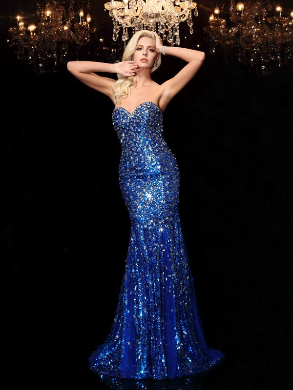 Trumpet/Mermaid Sweetheart Sequins Sleeveless Court Train Prom Dresses