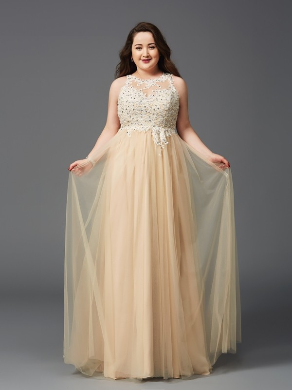A-Line/Princess Scoop Net Sleeveless Floor-Length Prom Dresses