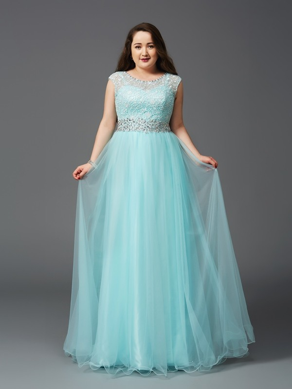 A-Line/Princess Scoop Elastic Woven Satin Sleeveless Floor-Length Prom Dresses