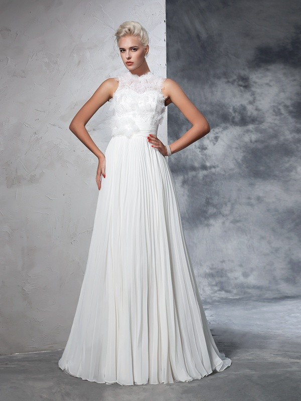 A-Line/Princess High Neck Chiffon Sleeveless Court Train Wedding Dresses