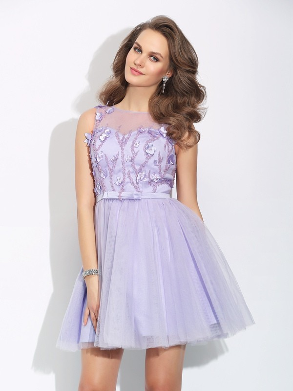 A-Line/Princess Bateau Satin Sleeveless Short/Mini Cocktail Dresses