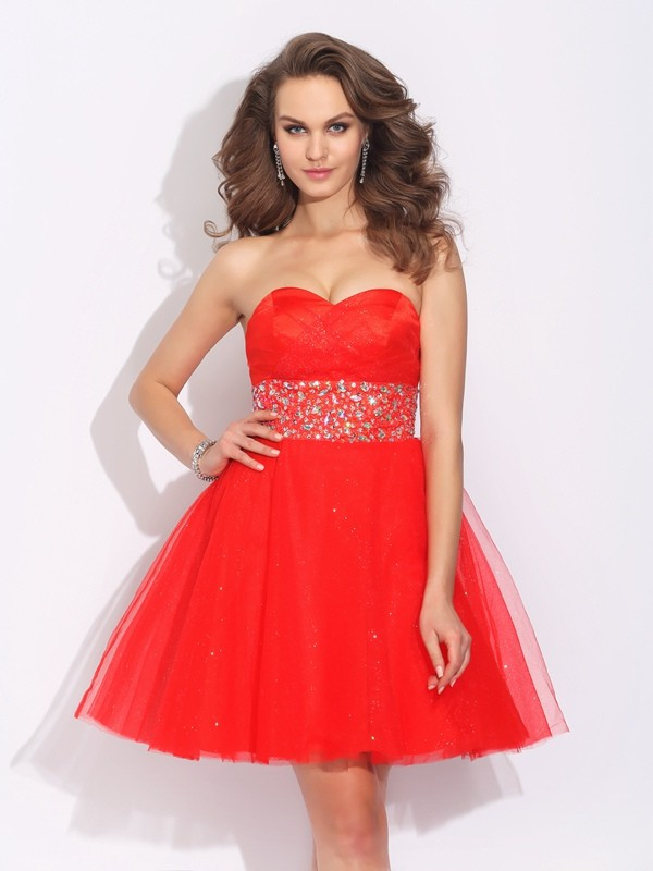 A-Line/Princess Sweetheart Net Sleeveless Short/Mini Cocktail Dresses