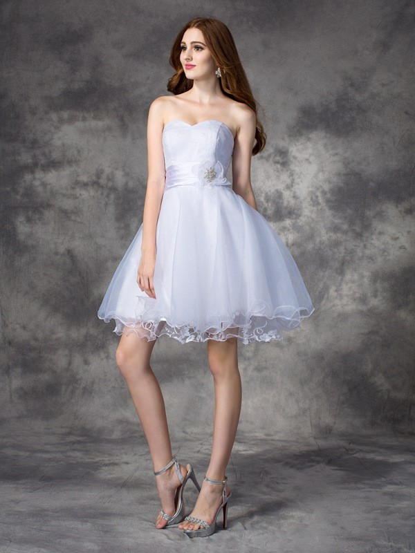 A-line/Princess Sweetheart Organza Sleeveless Short/Mini Cocktail Dresses