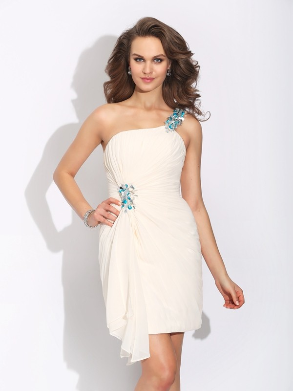 Sheath/Column One-Shoulder Chiffon Sleeveless Short/Mini Cocktail Dresses