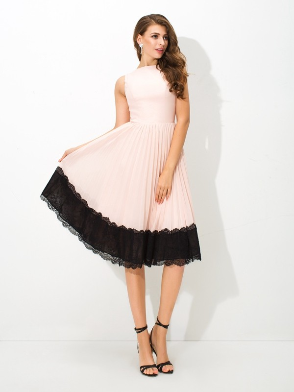 A-Line/Princess High Neck Chiffon Sleeveless Tea-Length Cocktail Dresses