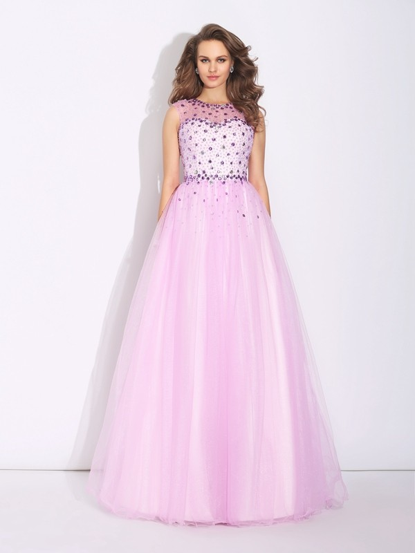 A-Line/Princess Jewel Net Sleeveless Floor-Length Evening Dresses