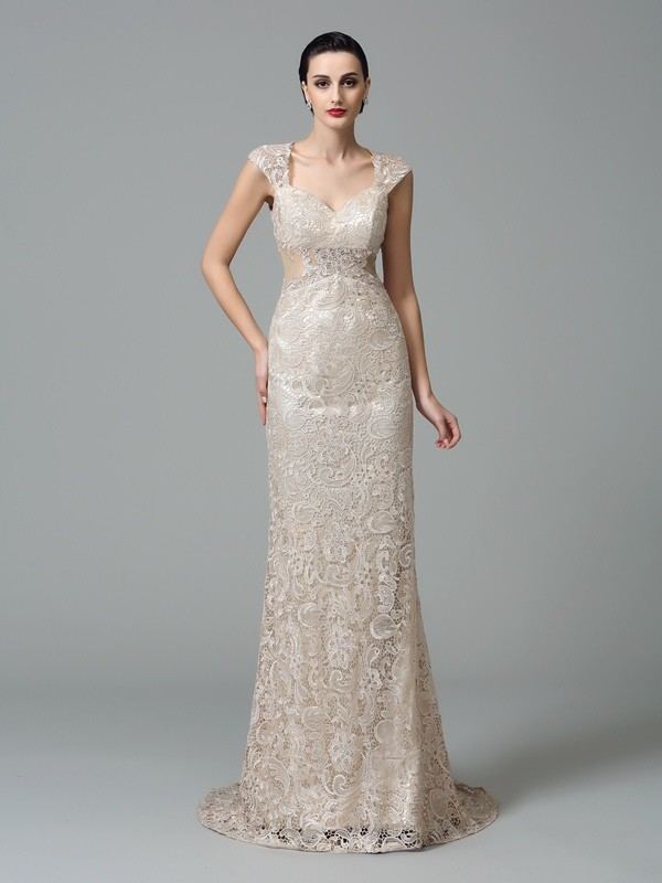 Sheath/Column Straps Lace Sleeveless Sweep/Brush Train Evening Dresses