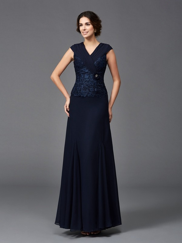 A-Line/Princess Straps Chiffon Sleeveless Ankle-Length Mother of the Bride Dresses